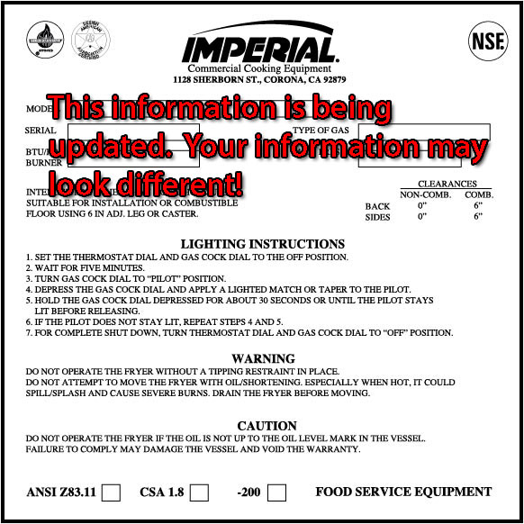 Imperial Commercial Cooking Equipment Serial Number Locator